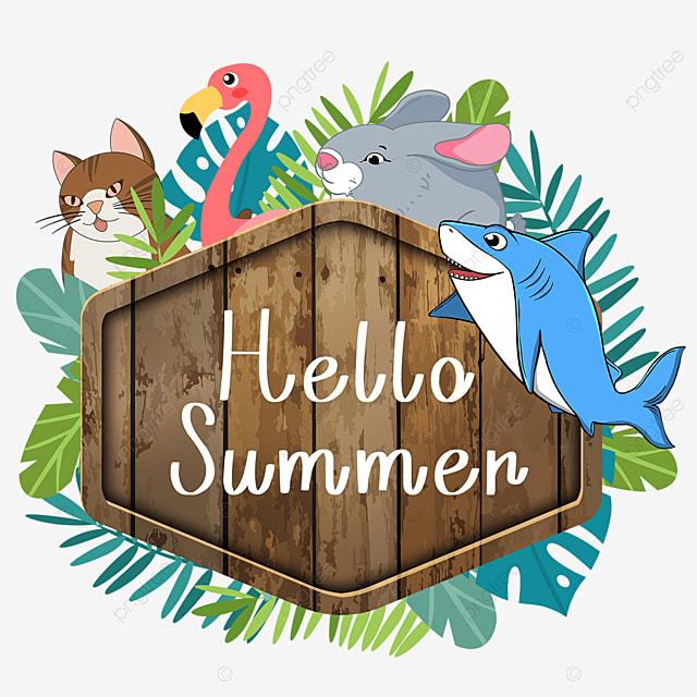 summer animal wooden banner season