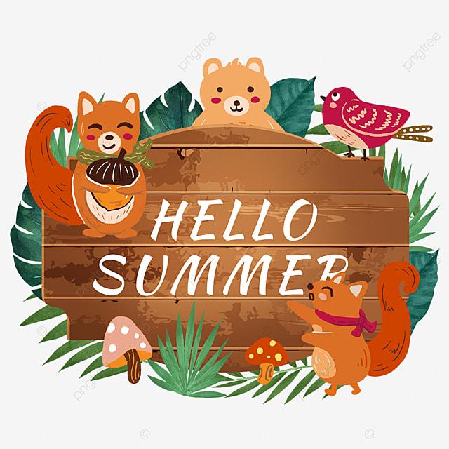summer animal wooden banner tropical leaves