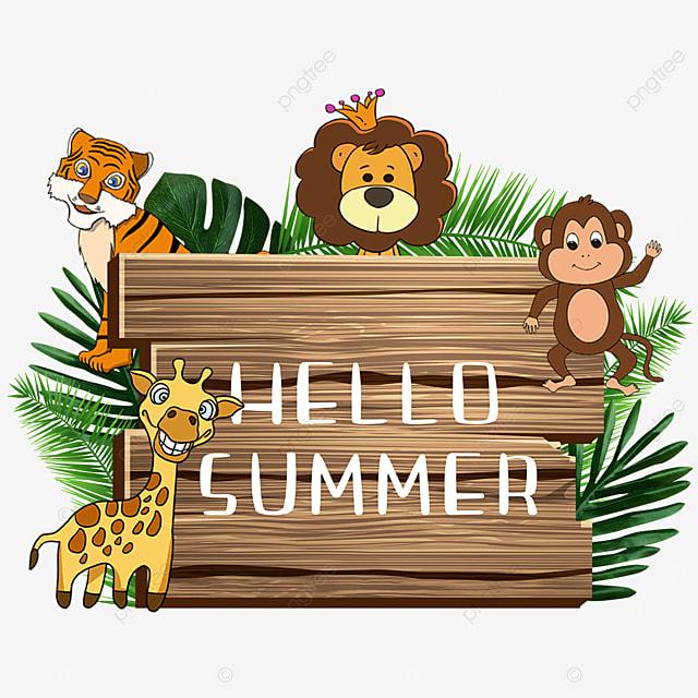 summer cute animal wooden banner