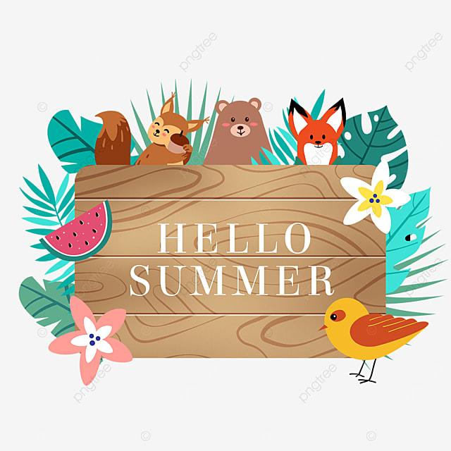 summer cute animal wooden banner watermelon