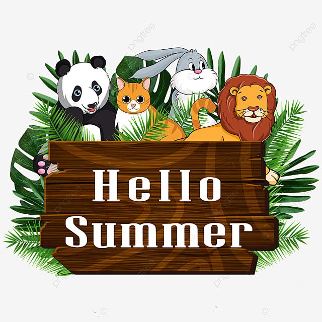 summer wooden banner cute animal season