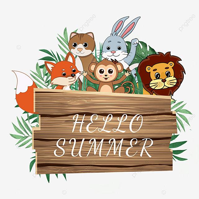 summer wooden banner cute animals