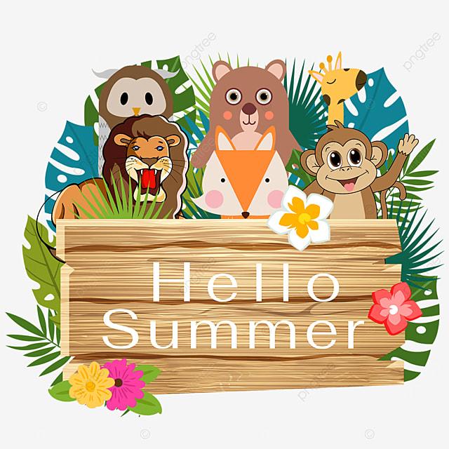 summer wooden banner flowers tropical