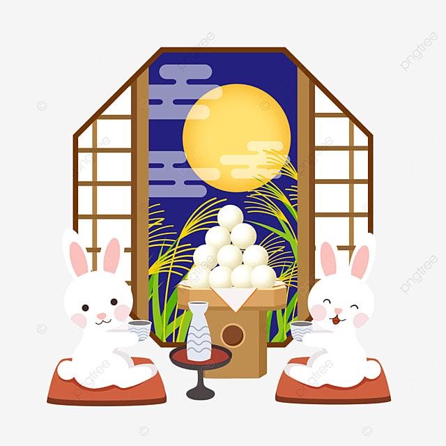 two rabbits enjoying the moon happily