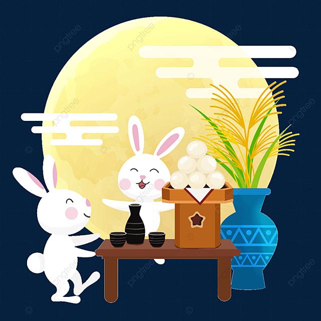 two rabbits happily watching the moon japanese festival tsukimi dumplings