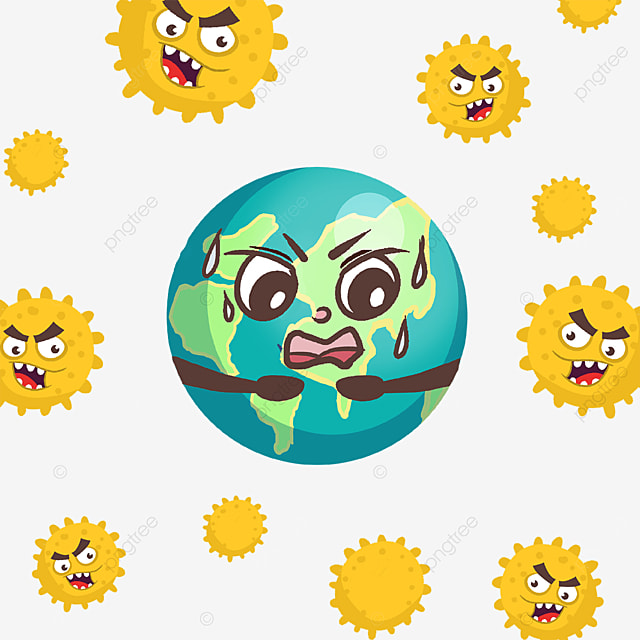 afraid of the new coronavirus cartoon earth