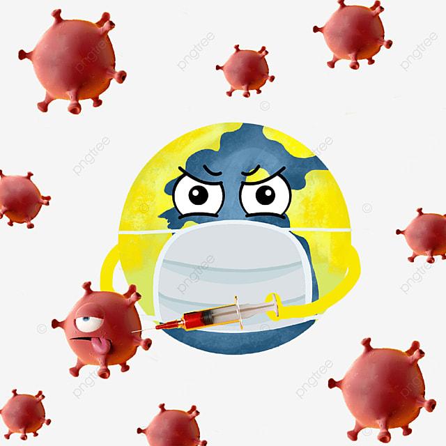 attacking the new coronavirus cartoon earth