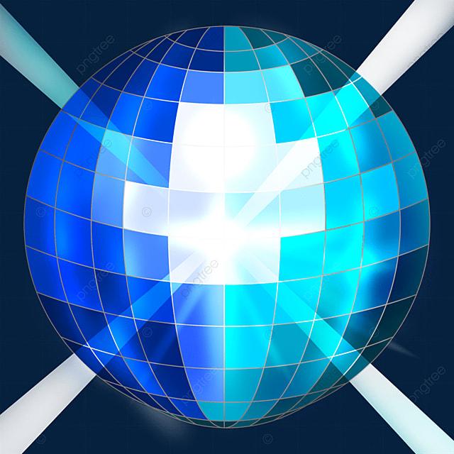 blue mixed glitter disco ball clipart