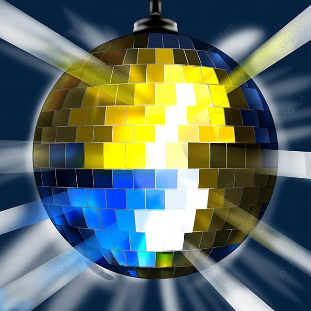 blue yellow mixed glitter disco ball clipart