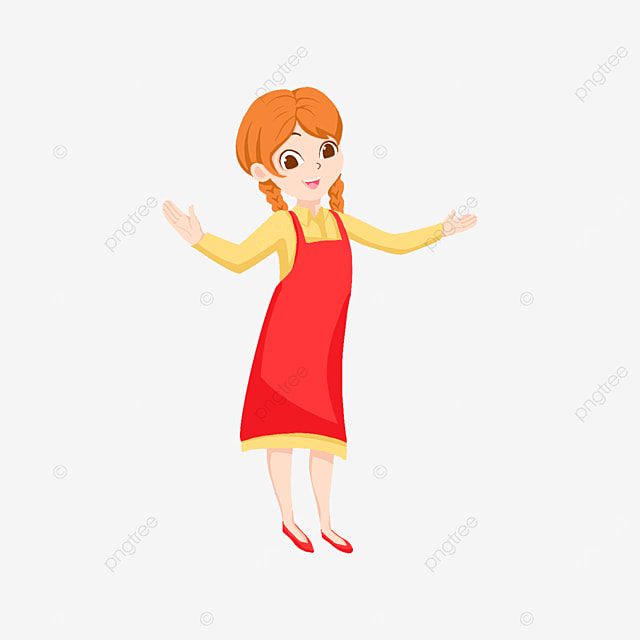 brown haired happy waitress clipart