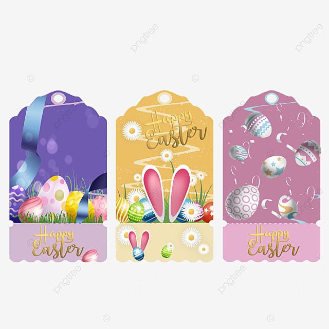 cartoon bunny easter label