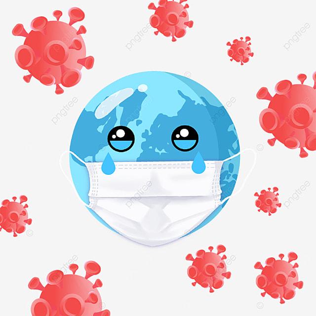 cartoon style new coronavirus earth