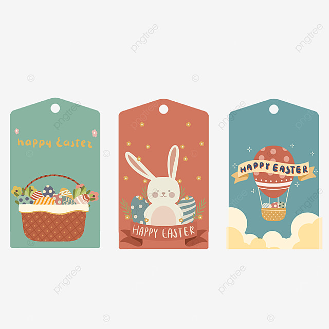 colorful easter cute tags