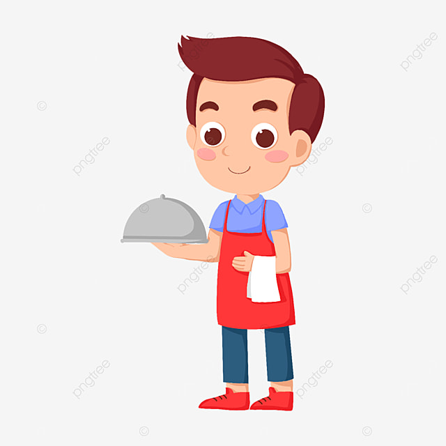 cute male waiter carrying a big meal clipart