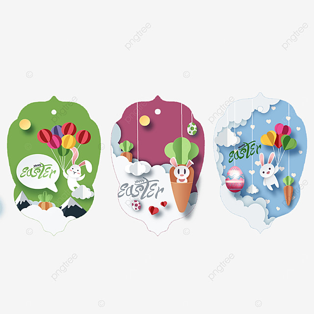 cute paper cut easter tags