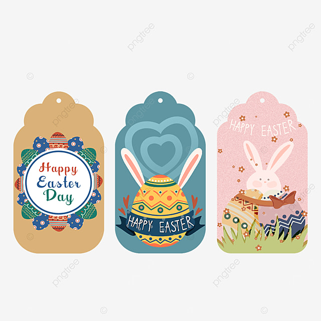easter eggs with bunny ears tags