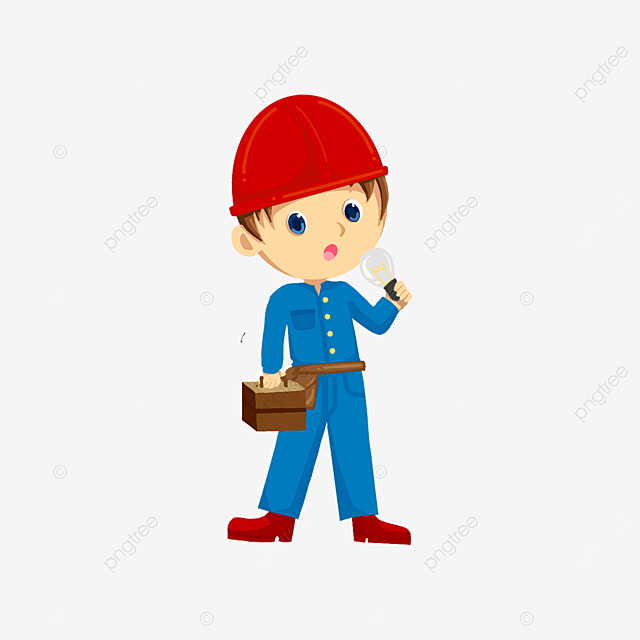 electrician holding toolbox and light bulb clipart
