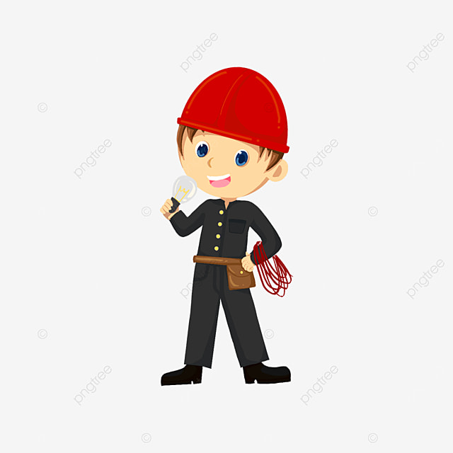 electrician in black holding light bulb and wires clipart