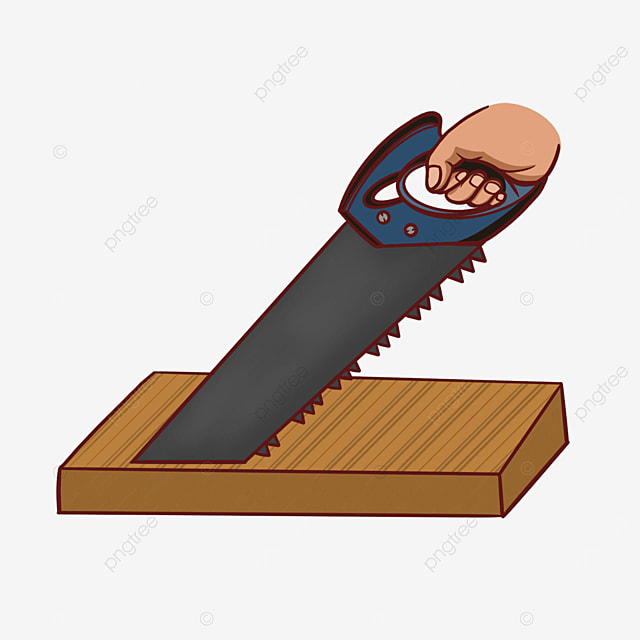 hand holding saw wooden board blue hand saw clipart