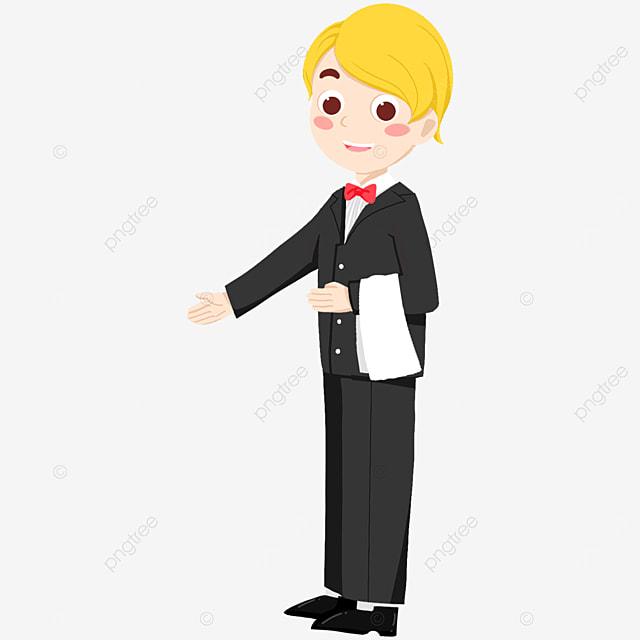 male waiter in suit guiding in door clipart