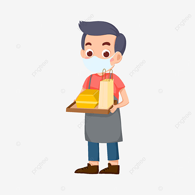 male waiter wearing a mask clipart