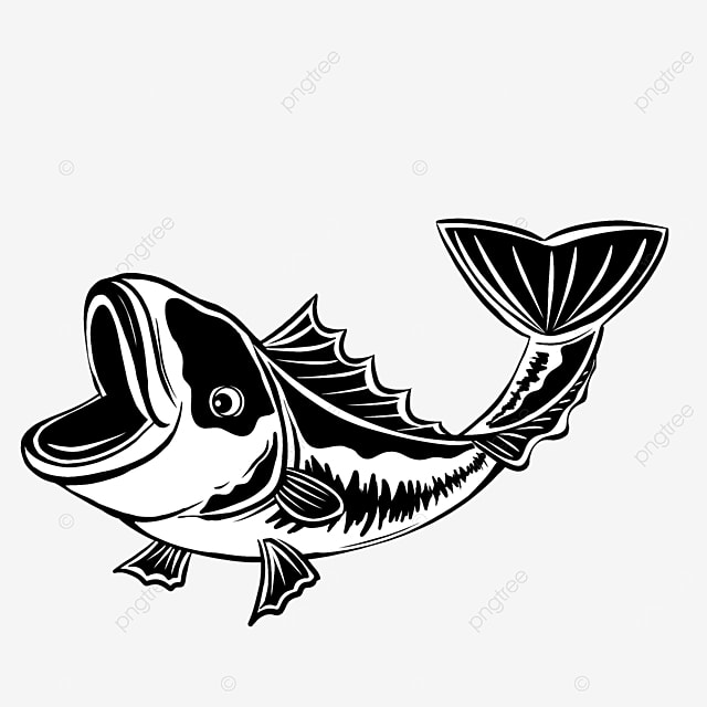 monochrome largemouth bass clip art