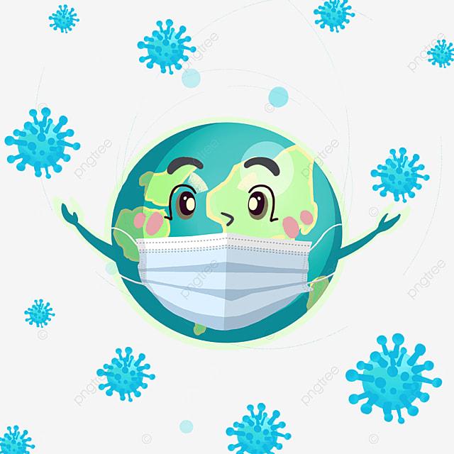 new coronavirus cartoon mask earth