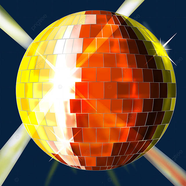 orange and yellow mixed color disco ball clipart