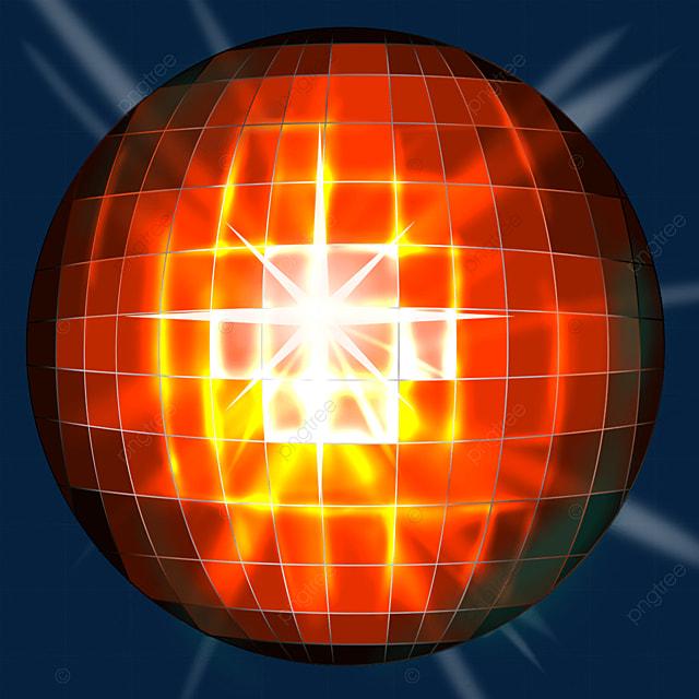 orange shining disco ball clipart