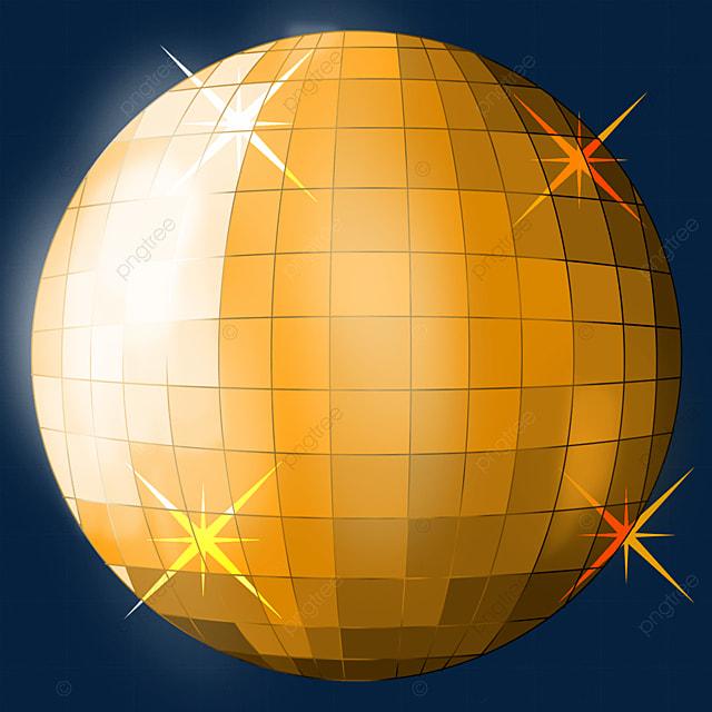 orange yellow shiny disco ball clipart