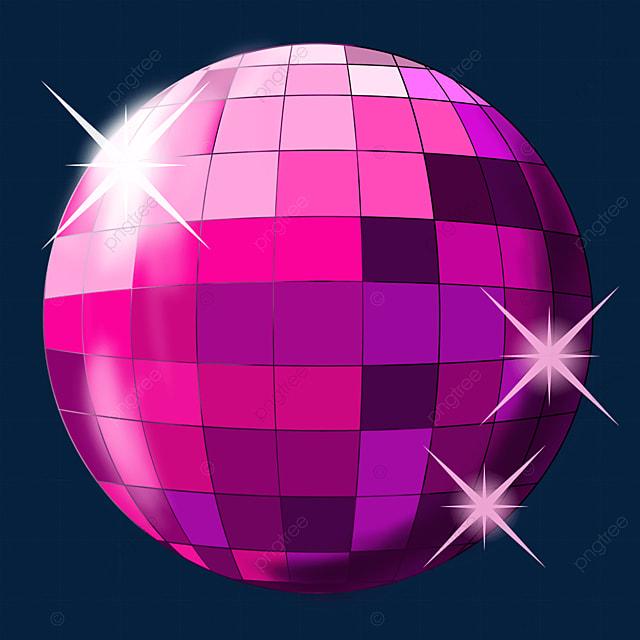 pink purple shiny disco ball clipart