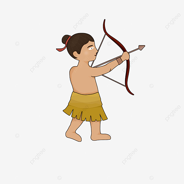 primitive man hunting and archery clipart