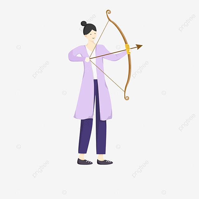 purple clothes female archery clipart