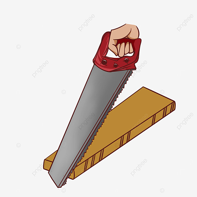 red saw wooden plank hand saw clipart