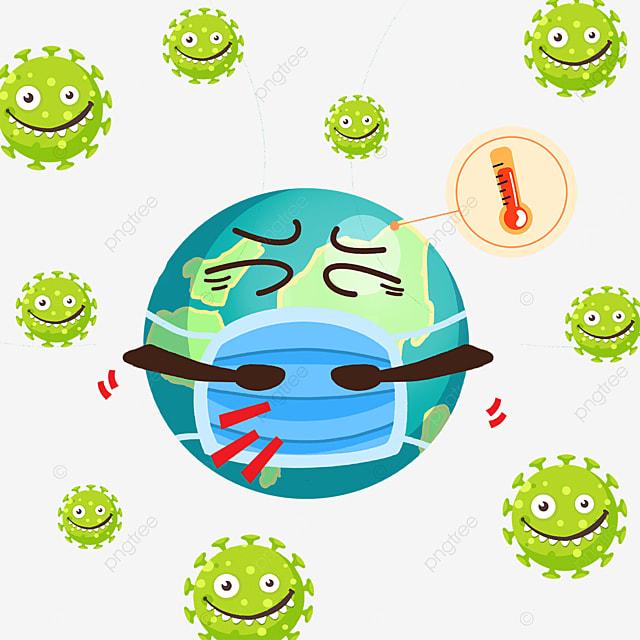 sick earth cartoon new coronavirus
