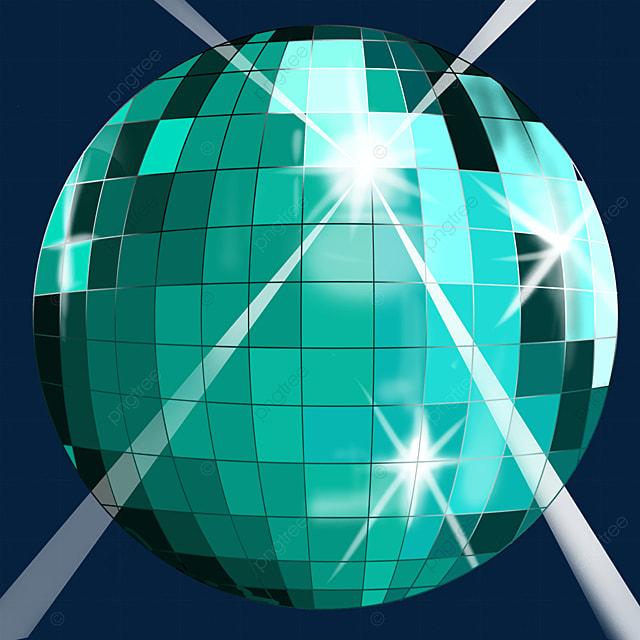 teal glitter disco ball clip art