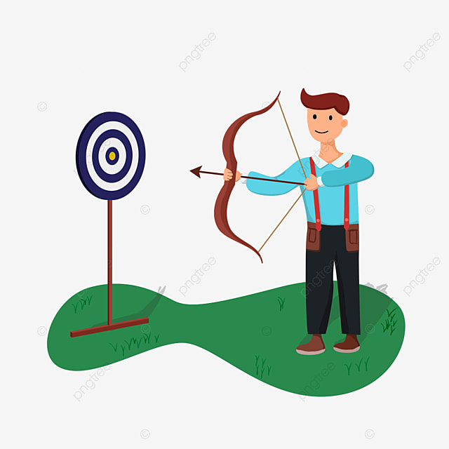 teenager aiming at an archery target archery clipart
