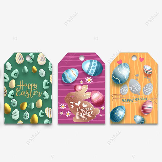 three dimensional egg easter cartoon tags