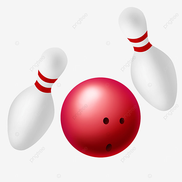 white pin and rose red bowling ball clipart