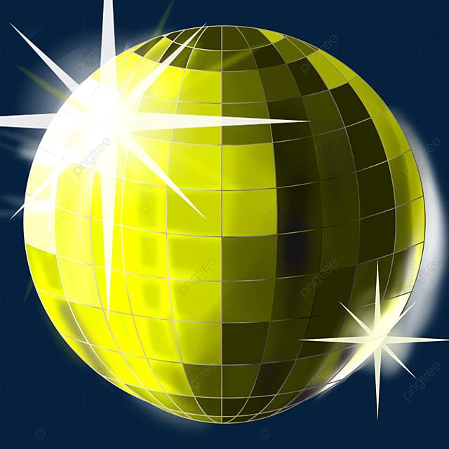 yellow shiny disco ball clipart