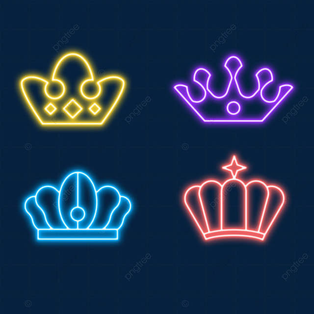 a neon light effect crown worn by colorful nobles