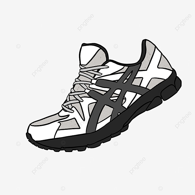 black and white minimalistic cartoon running shoes clipart