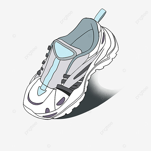 blue dynamic casual running shoes clipart