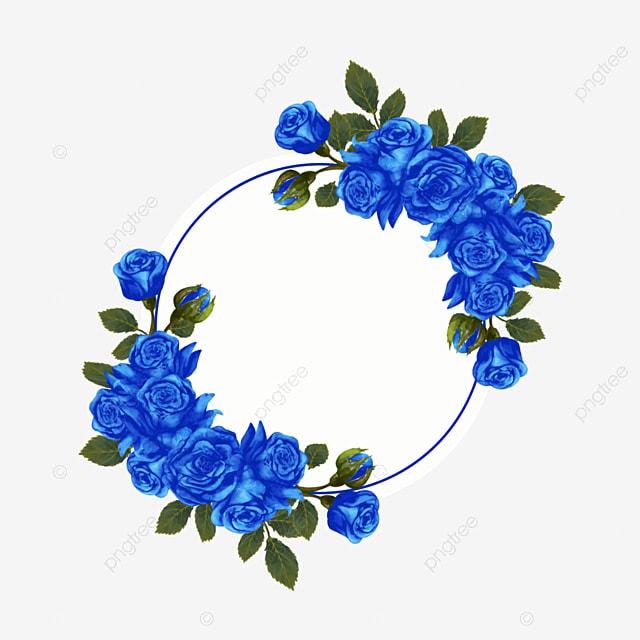 blue rose round wedding border