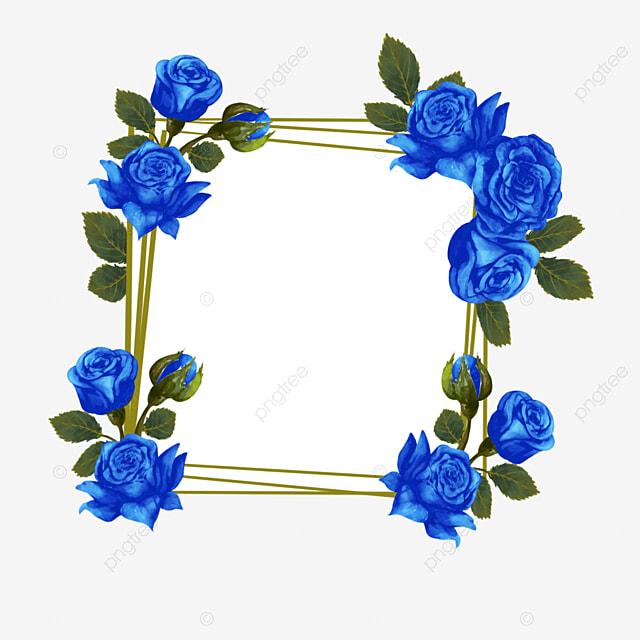 blue rose square wedding border