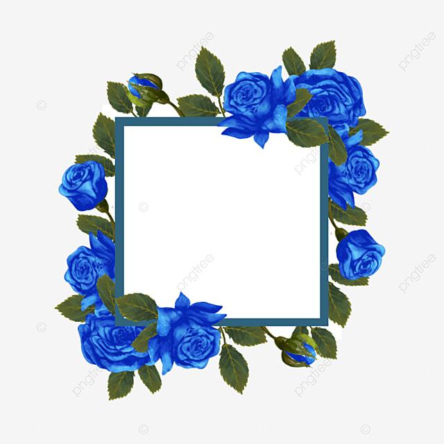 blue rose wedding border bride invitation card