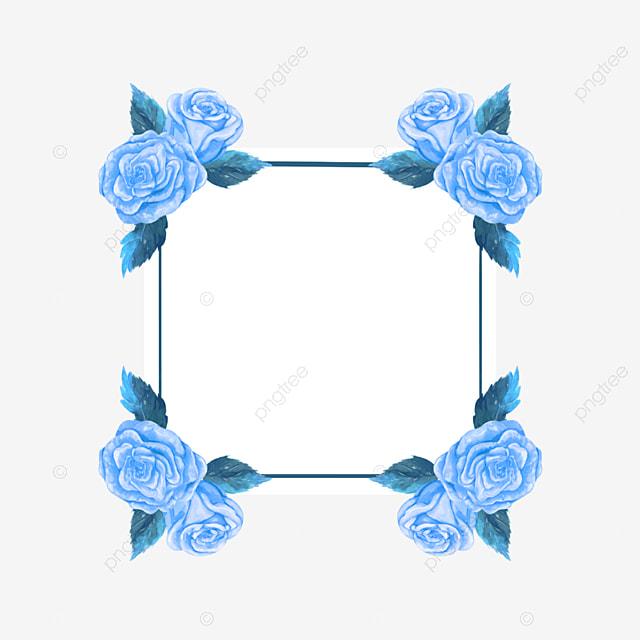 blue rose wedding border watercolor