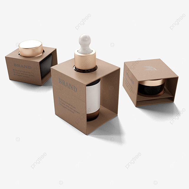 brown three dimensional cosmetics environmental protection packaging