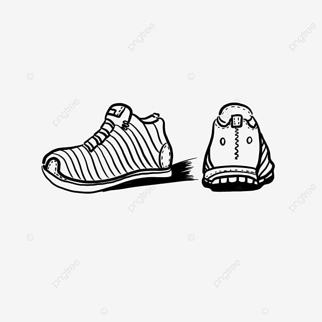 clip art of black running shoes