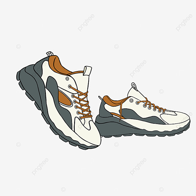 color matching sport beige running shoes clipart